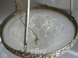 Chandelier Lamp Art Deco Bronze Nickel Silver Paste Glass Shells
