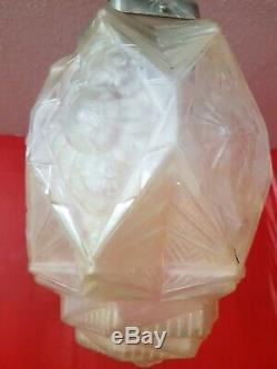 Chandelier Lantern Deco Molded Glass Art Chandelier And Bronze Hanots J. Robert