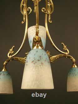 Chandelier Transition Art Nouveau / Art Deco Bronze And Glass Schneider
