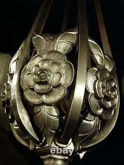 Cherrier & Besnus Chandelier Art Deco Bronze Nickel & Pressed Glass Globes 1930