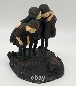 Chiparus Chrysephant Bronze Group Signed Children & Mother Watching Turtle