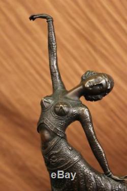 Chiparus Dancer Elegant Bronze Sculpture Signed Arabesque Art Statue Deco T