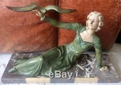 Chryselephantine Art Deco 1930 Limousin Sculpture Regulates Patina Bronze Marble