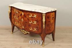 Commode Louis XV Style Marquette Gilded Bronzes