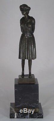 D. H. Chiparus (after) Bronze Marble Plinth Depicting A Woman Art Deco