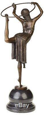 Dancer Statuette With Hoop Art Deco Bronze 54 CM