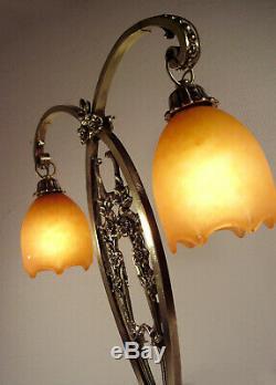 Daum Nancy Dual Lamp Art Deco Bronze And Tulips Nuagées 1920/1930