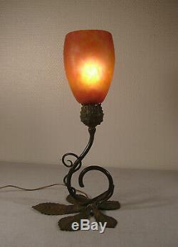 Daum Nancy Lamp Art Deco Bronze And Tulip Nuagée 1920/1925