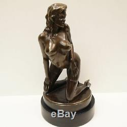 Demoiselle Statue Sculpture Naked Sexy Pin-up Art Deco Style Bronze Massive Sign
