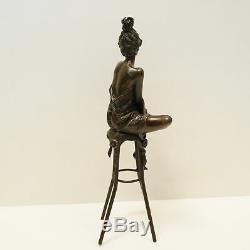 Demoiselle Statue Sculpture Sexy Style Art Deco Art Nouveau Massive Bronze