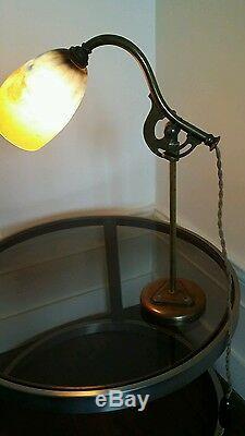 Desk Lamp, New -art Deco 1900 -pâte Glass Daum Nancy -bronze