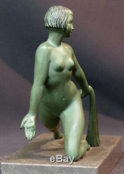 E 1920 Superb Pair Statues Sculpture Bronze Signed Limousin Art Nouveau Deco
