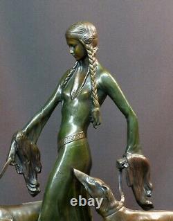 E 1930 Otto Poertzel Woman With Barzoïs Art Deco Statue Bronze Sculpture 9.5kg40c