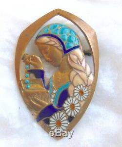 E. Bouillot Paris Old Enamelled Brooch Art Nouveau / Art Deco