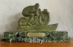 Edouard Fraisse Bronze Art Deco Biker Signed Green Patina Trophy