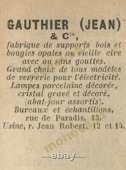Ejg (j. Gauthier) Pair D Apply Art Deco In Bronze - Tulips Pressed Glass