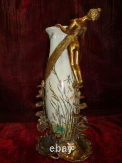 Elfe Frog Vase Fee Style Art Deco Style Art Nouveau Porcelaine Bronze