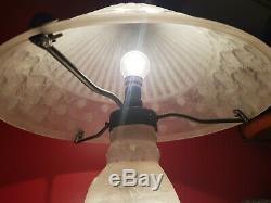 Exceptional Lamp Daum Nancy France Art Deco Glass Paste Has Clears The Acid