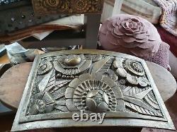 Exceptional Ornamental Plaque Bronze Art Deco Decoration Signed