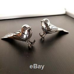 F. H Danvin Pair Of Birds Silver Bronze Art Deco. Bookend
