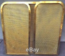Fireplace Screen 3-panel Golden Brass. Art Deco 1930's H48 CM L100 CM