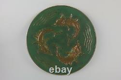 Flat Bronze Signed Max Le Verrier Three Dolphins Diam. 32.5 CM