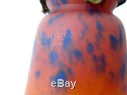 Foot Bronze Lamp, Old Tulip Glass Paste Signed Schneider