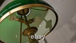 Former Opaline Green Foot Office Lamp Bronze Art Deco