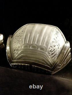 G. Viarmé Pair D Appliqués Art Deco Bronze Chromé And Pressed Glass 1930