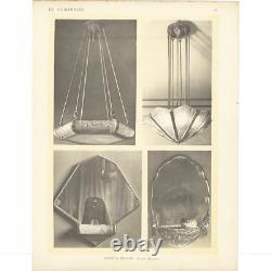 Genet Art Deco Lustre - Michon Bronze Nickel And Glass 1930