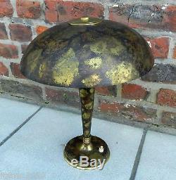 Genet Et Michon, Art Deco Lamp, Bronze, And Brass, Oxidized Decor, 1930