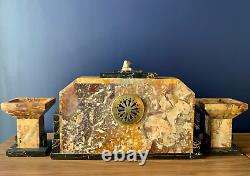 George Lavrov 1930 Art Deco Clock Marble And Bronze