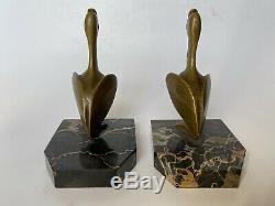 Georges Henri Laurent Pair Of Book Ends Bronze Pelican Art Deco Bookends
