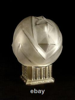Glassware Des Vosges Lamp Art Deco In Bronze Nickeled - Globe Pressed Glass 1930