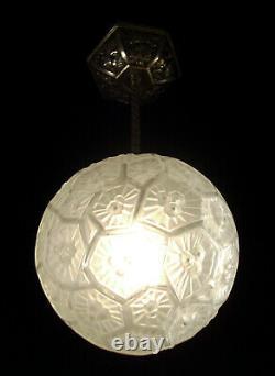 Glassworks Of Hanots Suspension In Bronze Nickele And Globe In Glass Press 1930
