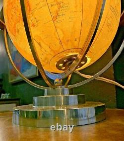 Globe Earth Reveto Art Deco Forest-bronze Nickel-bright Glass Globe