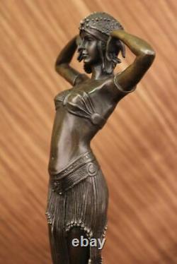 Grand Dimitri Chiparus Dancer Art Deco Bronze Sculpture Marble Base Figurine