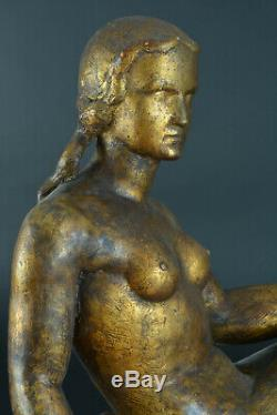 Great Art Deco Sculpture Signed Joseph Andrau Toulouse Naked Sitting Pat. Gilt Bronze