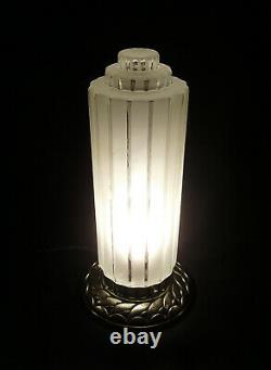 Great Lamp Building Modernist Art Deco Bronze Nickeled - Globe In Pressed Glass