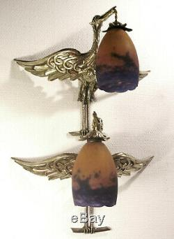 Great Pair Dappliques Art Deco Bronze Birds And Tulips Muller Frères