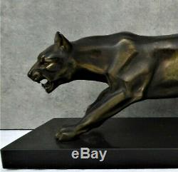 Great Panther Sculpture Art Deco Regulates Patina Bronze And Marble Base