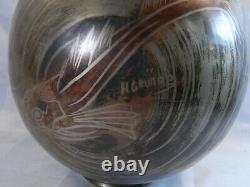 H Grunne Ancienne Rare Grand Vase Ovoide Dinanderie Art Deco Bronze Poisson Design