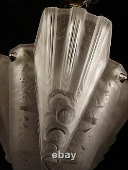 H. Petitot - Muller Brothers Suspension Art Deco Bronze Chromé - Pressed Glass Obus