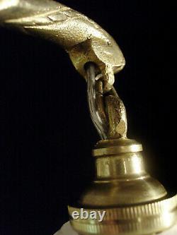 H. Petitot & Muller Sandstones Pair Art Deco Appliances Bronze & Clouded Glass 1930