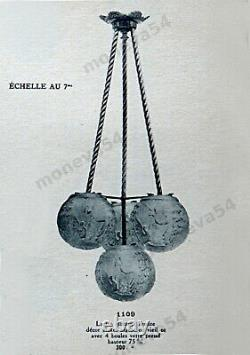 H. Petitot & Muller Suspension Art Deco Bronze Nickelé & Globes Glass Pressed