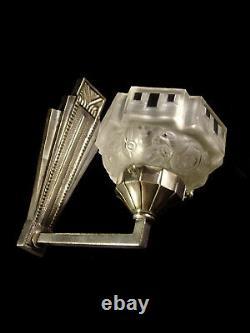 Hanots Applique Art Deco Bronze Nickelé & Coupelle En Verre Presse 1930