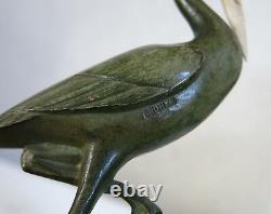 Herons, Pair Of Gual, Heron, Crane, Stork, Bronze, Art Deco, Gual