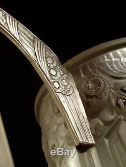 Hettier & Vincent Art Deco Chandeliers 4 Fires Bronze And Nickel Pressed Glass