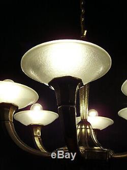 Hettier & Vincent Art Deco Chandeliers 6 Lights Bronze Cups & Muller Frères 1930