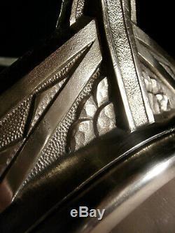 Hettier & Vincent Chandelier Art Deco Bronze And Glass Nickel Pressed Muller 1930